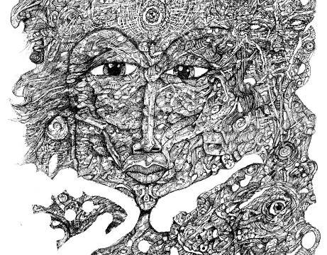 A drawing of a woman made up of many eyes