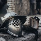 jousting helmet and glove