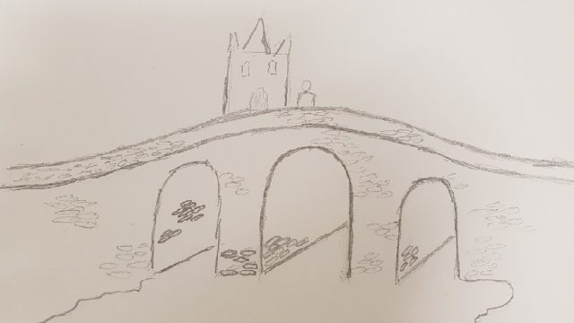 drawing of a bridge over a river