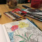 colouring book and colouring pencils