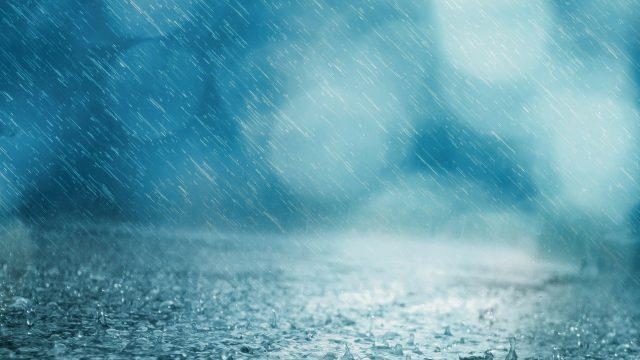 heavy rain splashing onto the ground