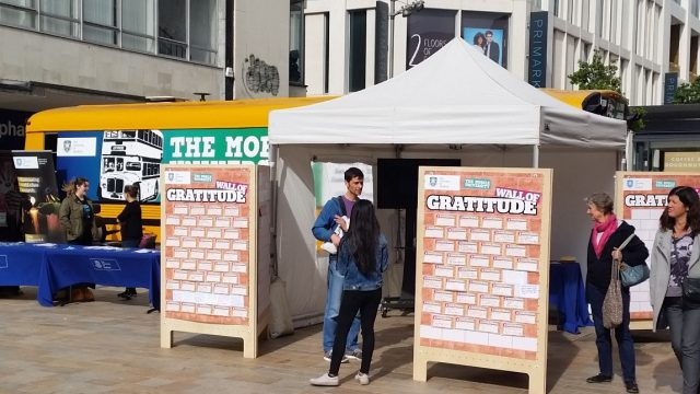 Stall featuring the wall of gratitude