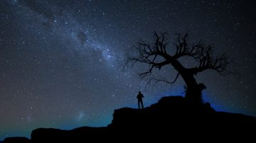 Silhouette against a dark starry sky