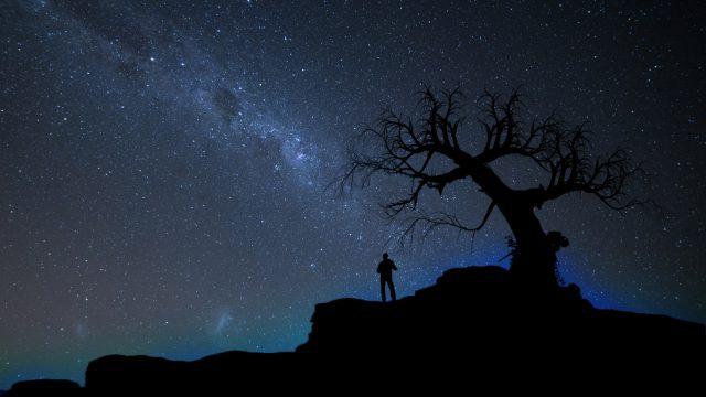 Silhouette against a dark starry sky