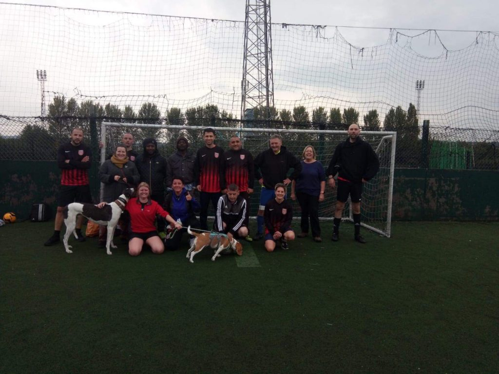 The team with dogs