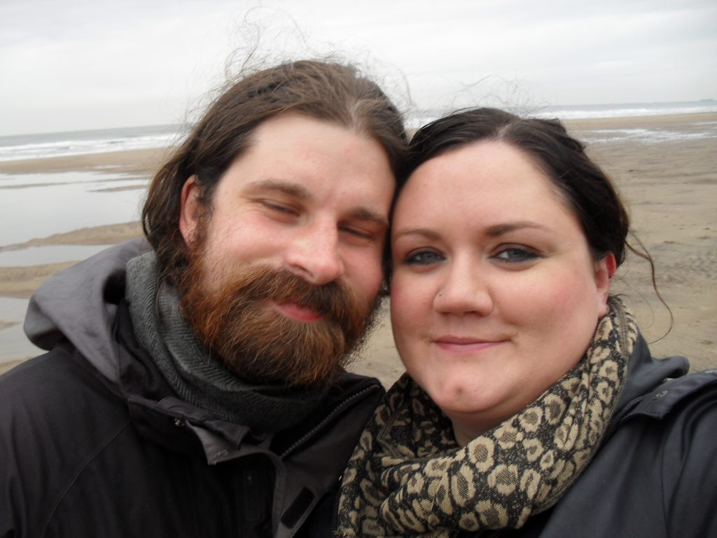 My husband and I on the beach in Whitby