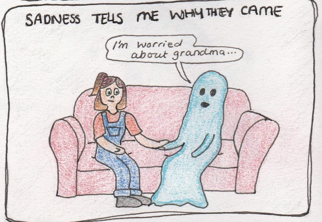 The blue ghost replies 'I'm worried about grandma'