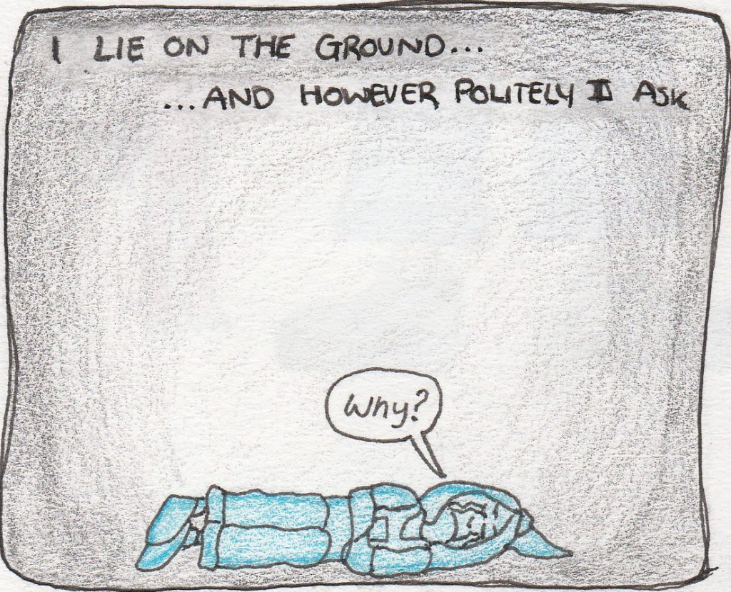 Blue Cerowyn is on the floor, crying 'Why?'